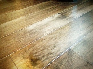 Hand scraped wood flooring